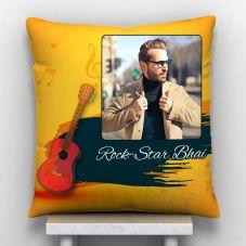 Rock Star Bhai Photo Personalized Cushion White-12*12