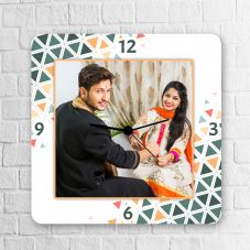 Wooden Square Personalized clock By GiftsOnn