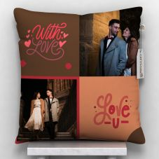 2 pics printed with love u quote cushion with cover