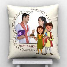 Happy Raakhi Personalized Satin Pillow