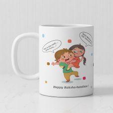 Happy Raksha Bandhan White Ceramic Personalized Mug