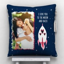 I Love u to the moon and back  Cushion With Cover (12x12, White)