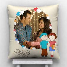 Raksha Bandhan Personalized Satin Pillow- White, 12*12