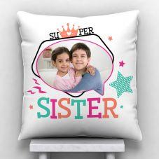 Super Sister Personalized Photo Print Satin Pillow (White,12*x12)
