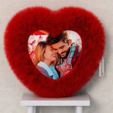 Red Heart Shape Fur Photo Cushion with Your Photo