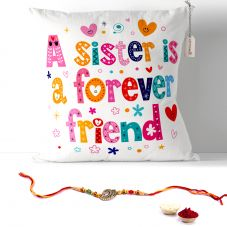 A Sister Is a Forver Friend Cushion with Filler 12x12. Rakhi Gifts