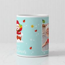 Merry Christmas Personalized Photo Print Ceramic Mug (White, 3.7x3.2in, 320ml)