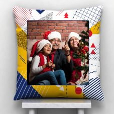 Merry Christmas White Satin Personalized Pillow