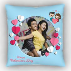 GiftsOnn happy valentine's day Printed Cushion With Cover -12x12