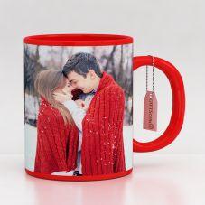 GiftsOnn Best Ceramic Red Patch Printed Mug (320ml,Set of 1)