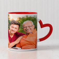 GiftsOnn Personalized Photo Red Heart Handle Ceramic Mug