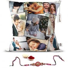 GiftsOnn 9 Photos Personalized Cushion With Rakhi