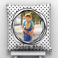 Pyara Bhai Personalized Photo Satin Pillow/Cushion- White, 12*12