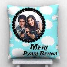Meri Pyari Behna Personalized Photo Satin Pillow/Cushion- White, 12*12