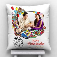 Happpy Raksha Bandhan Dear Sister Satin Personalized Pillow (12*12 inch,Set of 1)