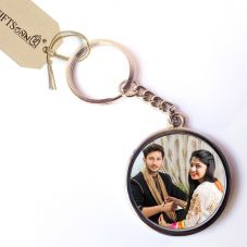 Customized Round Double Sided Metal Photo Keychain