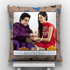Wrold Collest Brother 1 Photo Satin Pillow/Cushion- White, 12*12