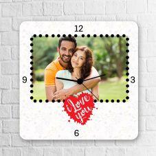 I Love You Square Personalized Clock