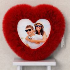 Personalized Heart Shaped Red Fur Cushion