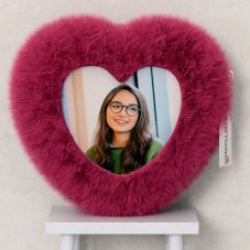 Personalized Heart Shaped Pink Fur Cushion/pillow