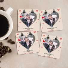 Happy Anniversary My Love Personalized Square Coaster Set of 4