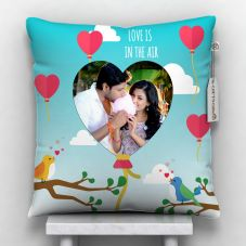 Love is in the air photo printed cushion with cover 12x12