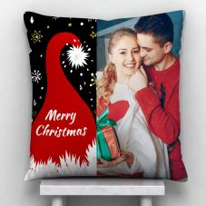 Merry Christmas Quote Photo Personalized Cushion White-12*12
