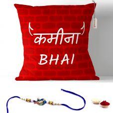 Kamina Bhai Text Printed on Cushion with Filler 12x12. Rakhi Gifts
