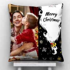 Merry Christmas Quote With 1 photo Personalized Pillow