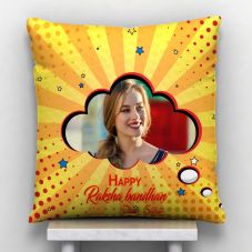 Happy Raksha Bandhan Quote With 1 photo Personalized Pillow