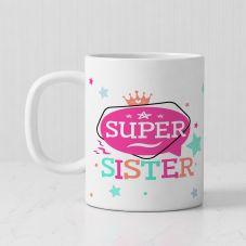Super Sister Personalized Photo Print Ceramic Mug (White, 3.7x3.2in, 320ml)