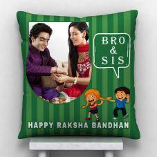 Bro & Sis Happy Raksha Bandhan White Satin Personalized Pillow