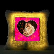 With Love Square Shaped Personalized Led Fur Cushion