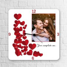 You Complete Me Anniversary Square Clock