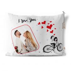 I love u Photo Printed Cushion With Cover - 12x15 inch