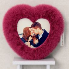 Personalized Heart Shaped Pink Fur Cushion