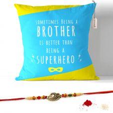 Happy Raksha Bandhan Cushion with Filler 12x12. Raksha bandhan Gifts