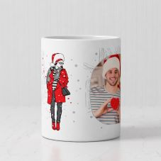 Merry Christmas Personalized White Ceramic Mug (320ml,Set of 1)