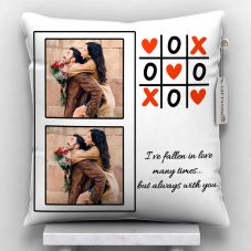 2 Photos Printed Cushion With Cover - 12x12 inch