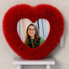 Personalized Red Heart Shaped Fur Cushion