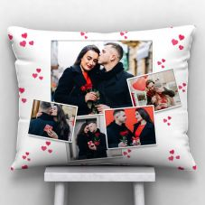 GiftsOnn 5 Photos printed Cushion With Cover (12x15, White)