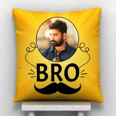 Bro Personalized White Satin Personalized Pillow