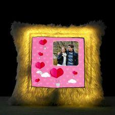 GiftsOnn Square Shaped Personalized LED Fur Cushion