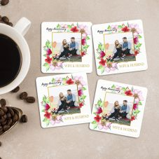 Happy Anniversary Personalized Square Coaster (Set of 4)
