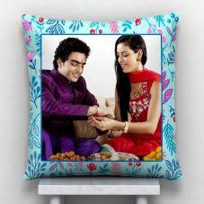 Raakhi Personalized Photo Satin Pillow/Cushion- White, 12*12