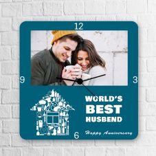 Wrold's Best Husband Happy Anniversary  Square Clock
