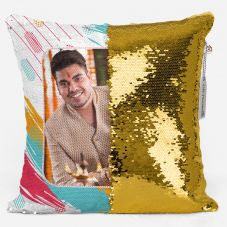 Photo Personalized Magic sequin  Pillow - White,12*12 inch
