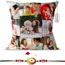 GiftsOnn 9 Photos Personalized Black Cushion With Rakhi