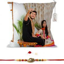 GiftsOnn Raksha Bandhan Printed  12x12 Cushion with rakhi