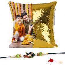 GiftsOnn Gold Magic Cushion 12x12 Cushion with rakhi